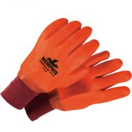 "PVC Double Dipped Lined Gloves, Orange, Sandy, 11.5"" long"