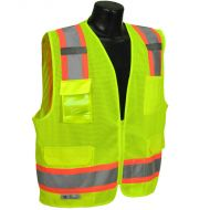 Class 2 Surveyor's Vest, Two-Tone, Green, Mesh, Zipper